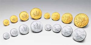 金地金 (金&プラチナ製コイン:メイプルリーフ、ウィーンハーモニー)