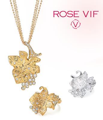 『ROSE VIF』 ローズ・ヴィフ。いきいきと輝くバラの色。「きれい」を呼び覚ます大人の日常にコーディネートする上質のジュエリーブランドです。
